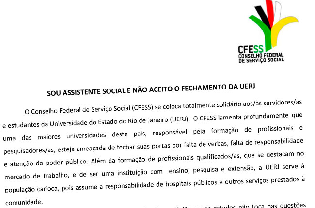 Imagem da nota do CFESS em apoio à UERJ