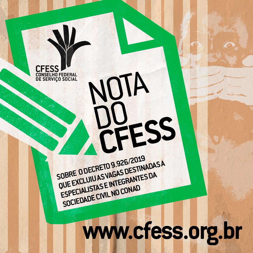 Imagem mostra uma caneta escrevendo o texto Nota do CFESS. Ao fundo, uma imagem de um homem negro sendo alado e colocado atrás das grades.
