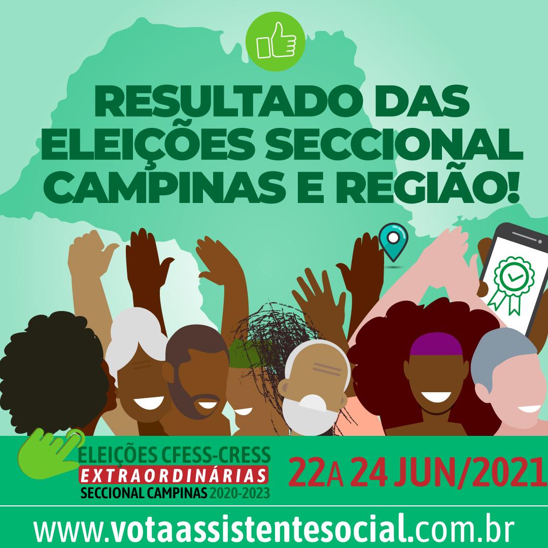 Card verde traz logos CFESS e CRESS, mapa de São Paulo marcando Campinas, pessoas diversas celebrando e o texto sobre Resultado das Eleições