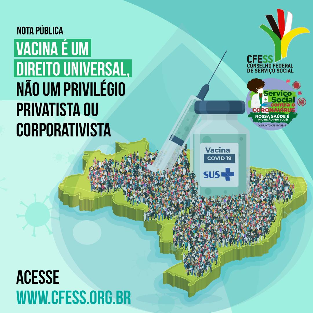 IImagem traz card verde claro com o título da nota. no centro uma gota representando a vacina, o mapa do Brasil repleto de pessoas em volta do frasco da vacina contra covid