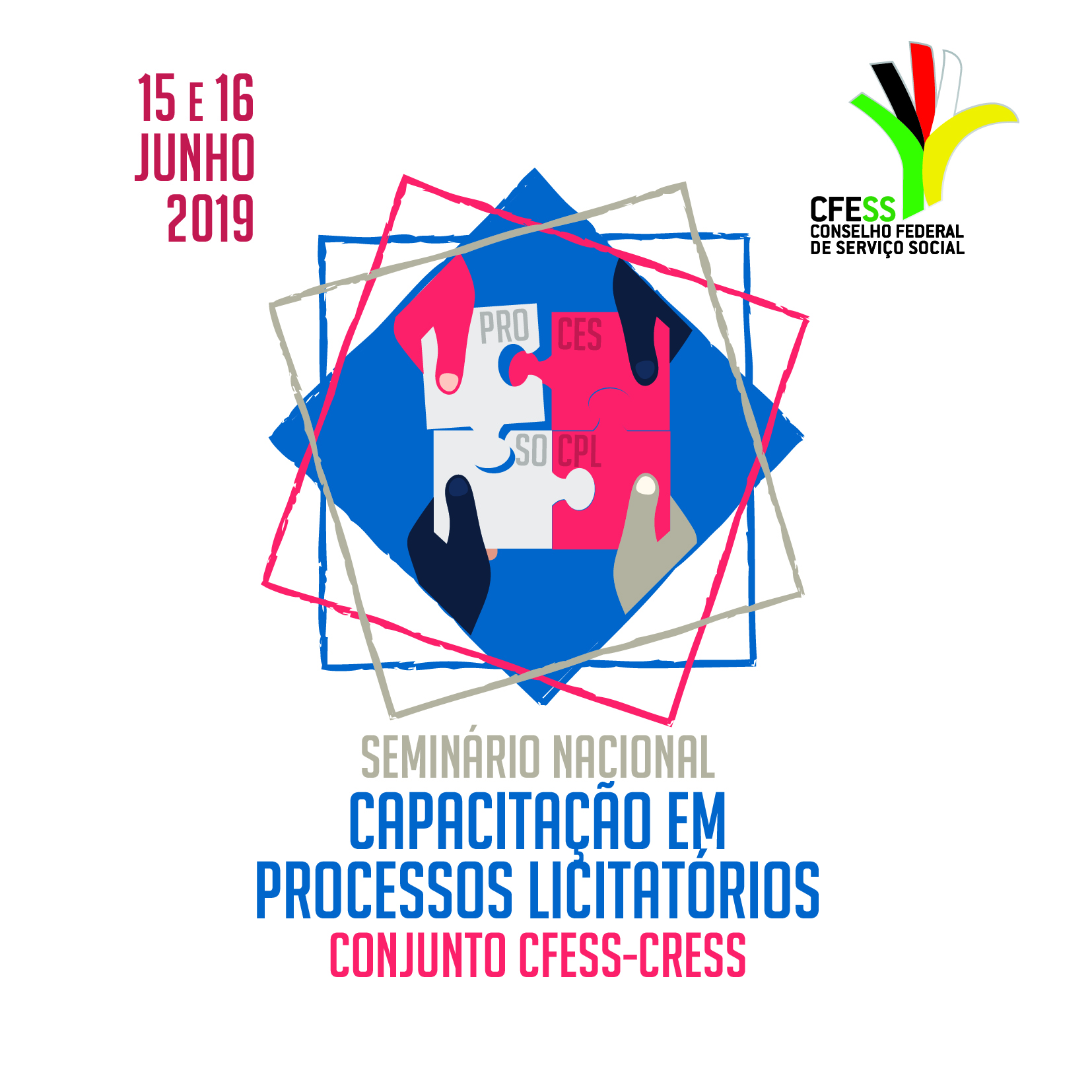 Imagem mostra logo do evento, um quebra-cabeça montado a quatro mãos com as palavras processos licitatórios