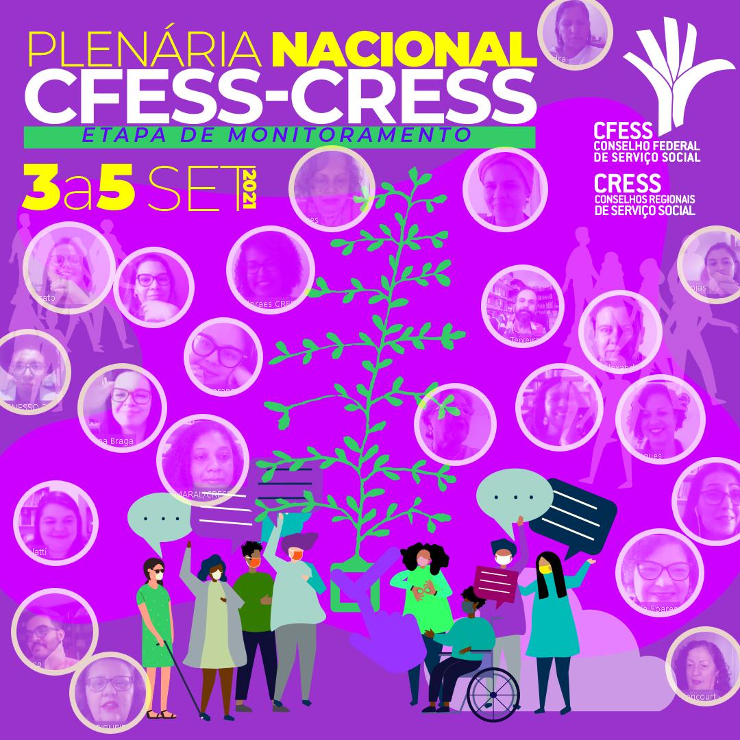 Imagem com fundo roxo e o título Plenária Nacional CFESS-CRESS traz diversos círculos com imagens de participantes do evento.