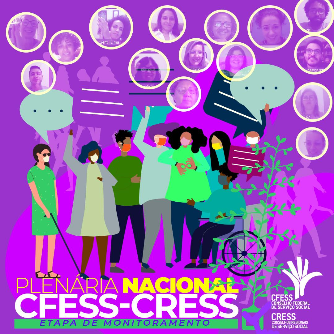 Imagem com fundo roxo e o título Plenária Nacional CFESS-CRESS na parte inferior, traz diversos círculos com imagens de participantes do evento.