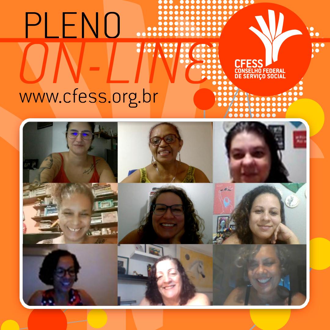 Imagem mostra uma janela virtual com rostos das representantes do CFESS em reunião do Pleno. fundo é laranja.