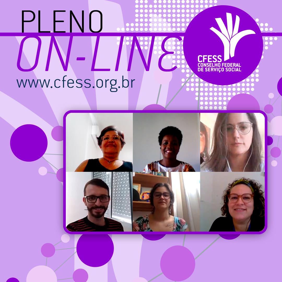 Imagem com fundo lilás e título 'Pleno On-line' traz fotos de conselheiras do CFESS, como se ligadas por uma rede.