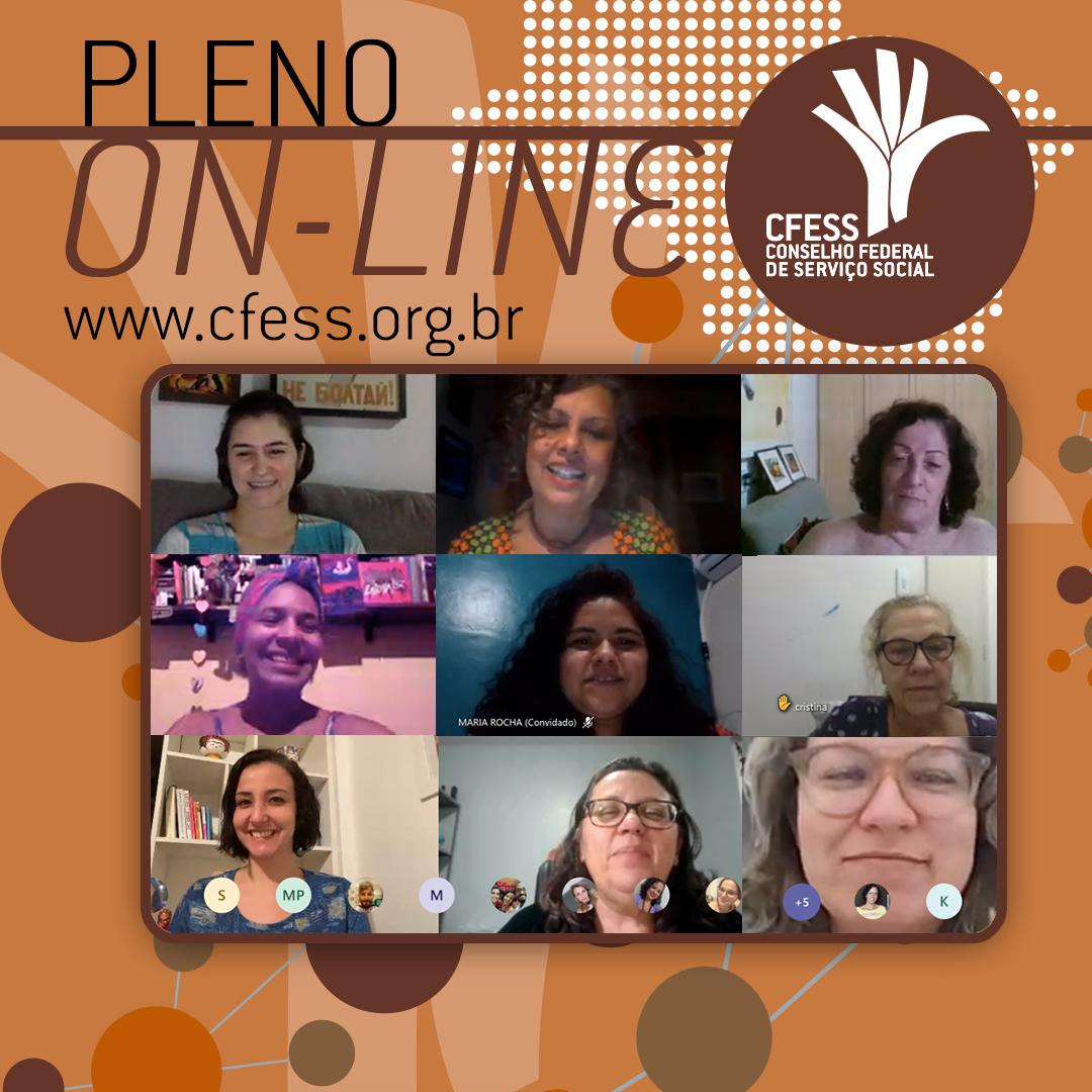 Imagem mostra uma janela virtual com rostos das representantes do CFESS em reunião do Pleno. fundo é marrom.