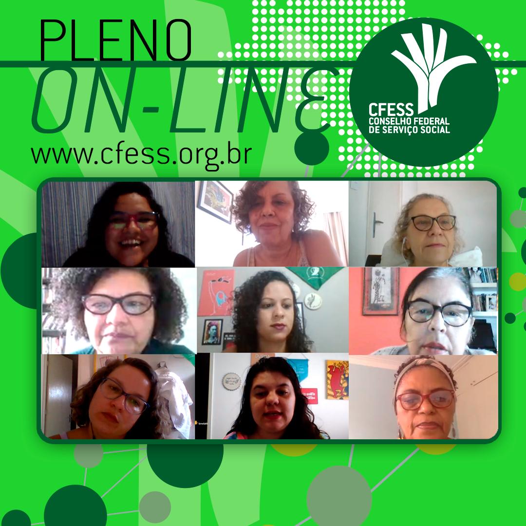 Imagem mostra uma janela virtual com rostos das representantes do CFESS em reunião do Pleno. fundo é verde.