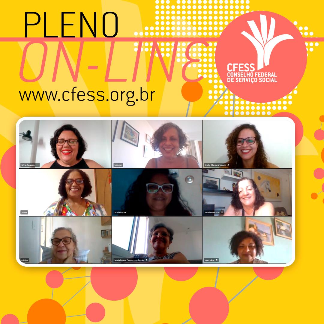Imagem mostra uma janela virtual com rostos das representantes do CFESS em reunião do Pleno. fundo é amarelo.