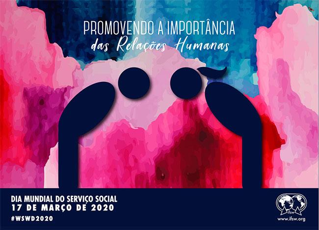 Imagem do cartaz da FITS em tons de rosa e lilás, com desenho de duas pessoas se cumprimentando.