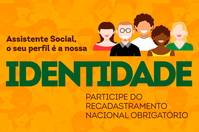 Imagem mostra arte da campanha, ilustrações de pessoas diversas sorrindo e o texto Assistente Social, seu perfil é a nossa identidade