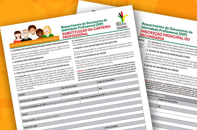 Imagem mostra reprodução dos formulários, disponíveis nos CRESS