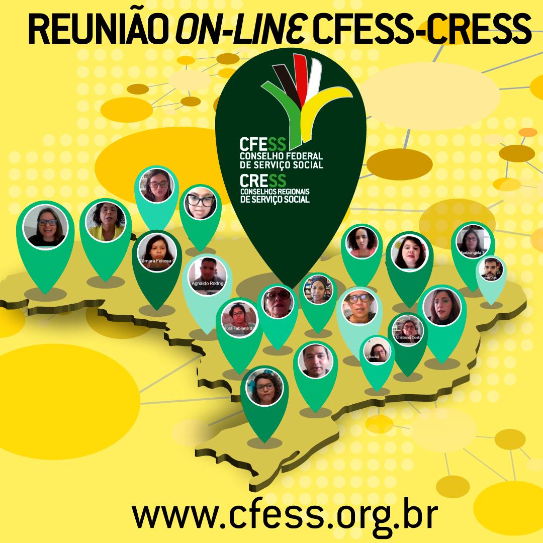 Ilustração do mapa do Brasil em amarelo traz imagens de algumas pessoas que participaram da reunião entre o CFESS e os CRESS, ligadas por linhas em rede.
