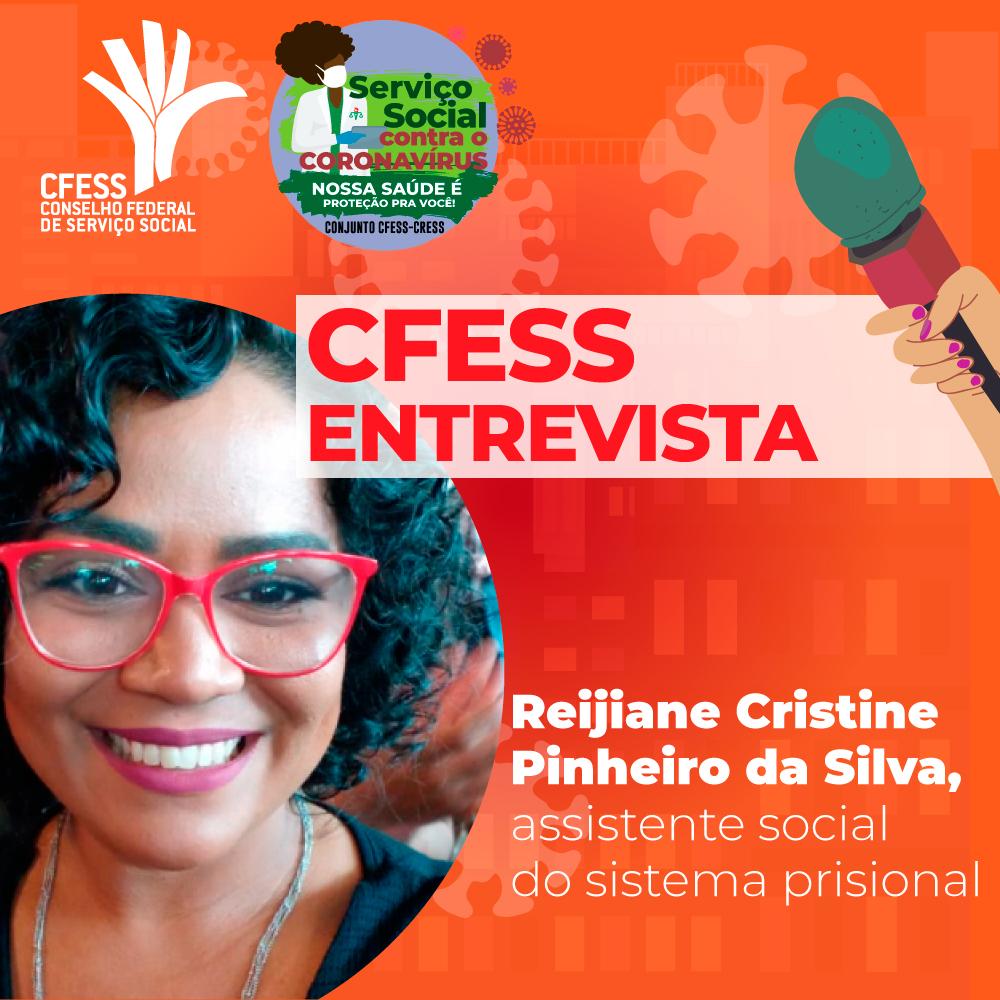 Ilustração com fundo laranja e o selo da seção Serviço Social contra o Coronavírus traz a foto da assistente social Reijiane do lado esquerdo.