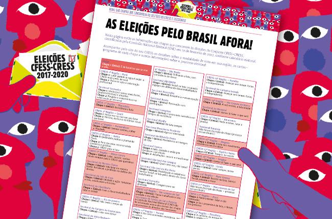 Imagem mostra ilustração ícone das eleições, com pessoas coloridas segurando um modelo de cédula estilizada e a lista das chapas