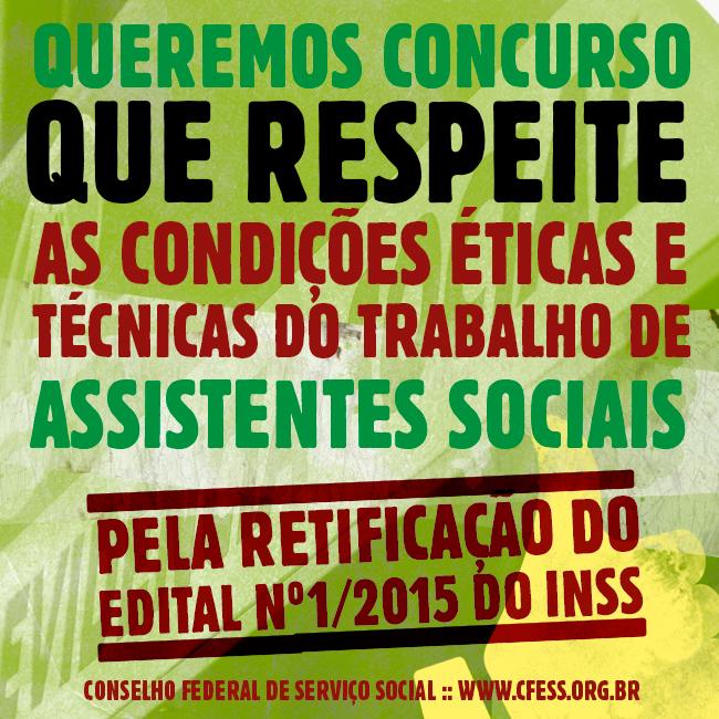 Imagem mostra cartaz pela impugnação do edital, com os dizeres: queremos concurso público que respeite as condições éticas e técnicas do trabalho de assistentes sociais