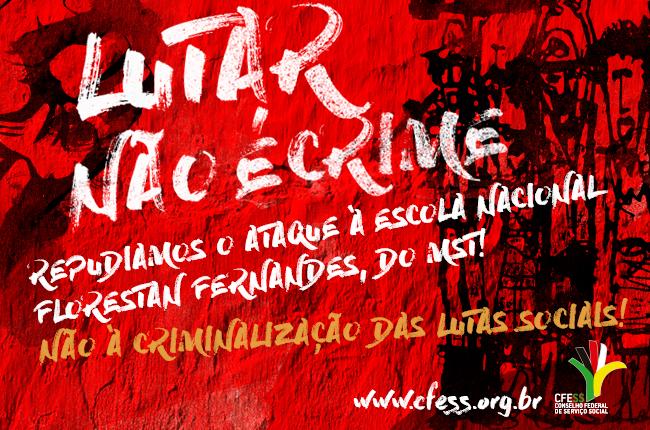 Imagem mostra uma parede vermelha com os dizeres pichados Lutar não é crime e desenhos de trabalhadores rurais