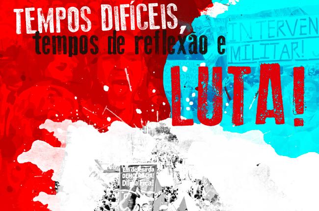 Imagem mostra ilustração com manifestantes divididos em três cores: vermelho, azul e branco.