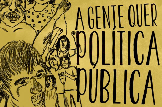 Imagem mostra ilustração de jovens e crianças e o texto reivindicando política pública para a juventude