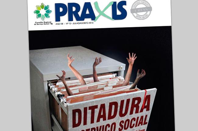 Imagem da capa do Jornal Práxis mostram um arquivo sendo aberto e dele saem mãos de pessoas que pedem socorro
