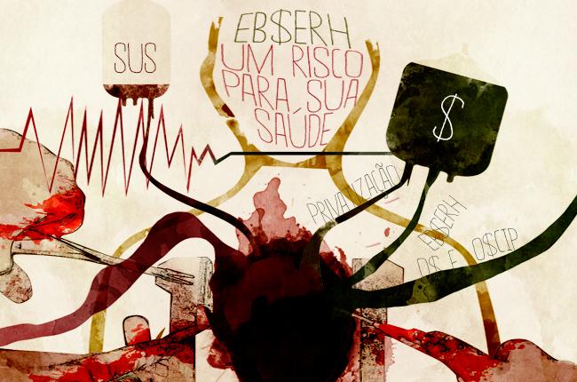 Arte do CFESS Manifesta Ebserh (autor: Rafael Werkema)