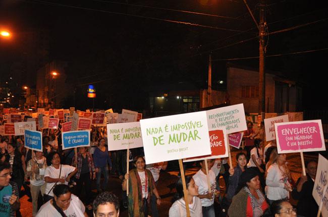 Após as atividades do penúltimo dia de CBAS, participantes se mobilizaram com pirulitos e gritos de guerra (foto: Diogo Adjuto)