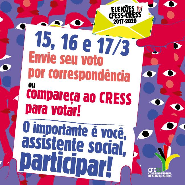 Imagem mostra ilustração abstrata de pessoas segurando uma cédula eleitoral e a convocação convidando assistentes sociais a votarem