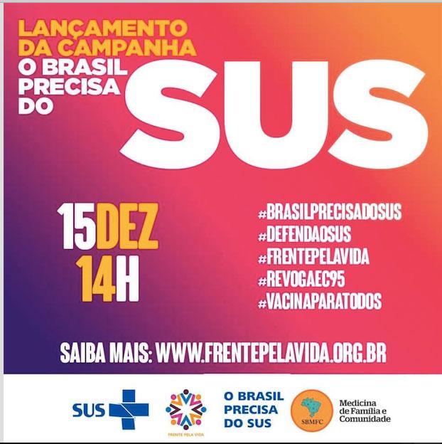 Card de divulgacão do lançamento da campanha o Brasil precisa do SUS, com fundo rosa.