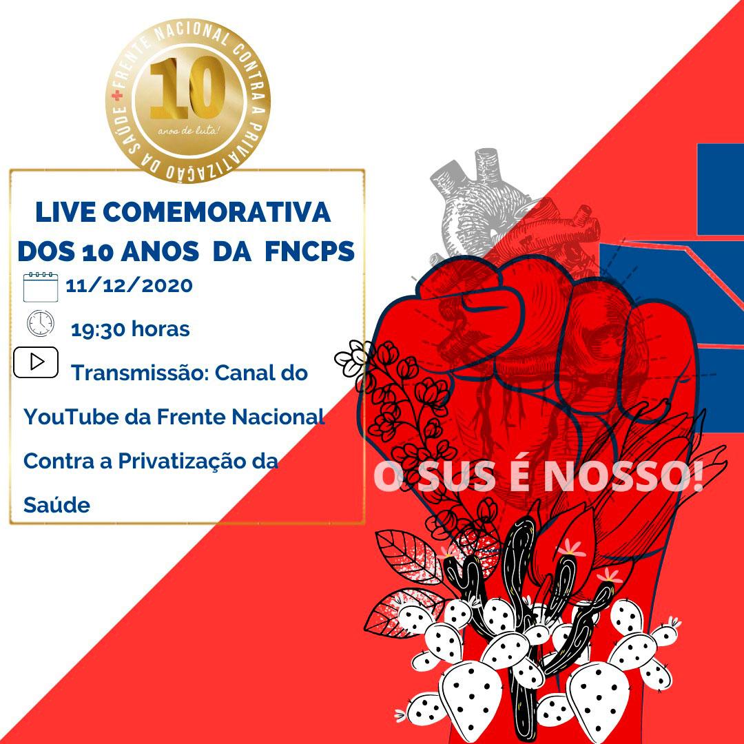 Card com mão em punho na cor vermelha e desenho de flores e um coração humano, de divulgação da live da Frente contra a Privatização da Saúde.