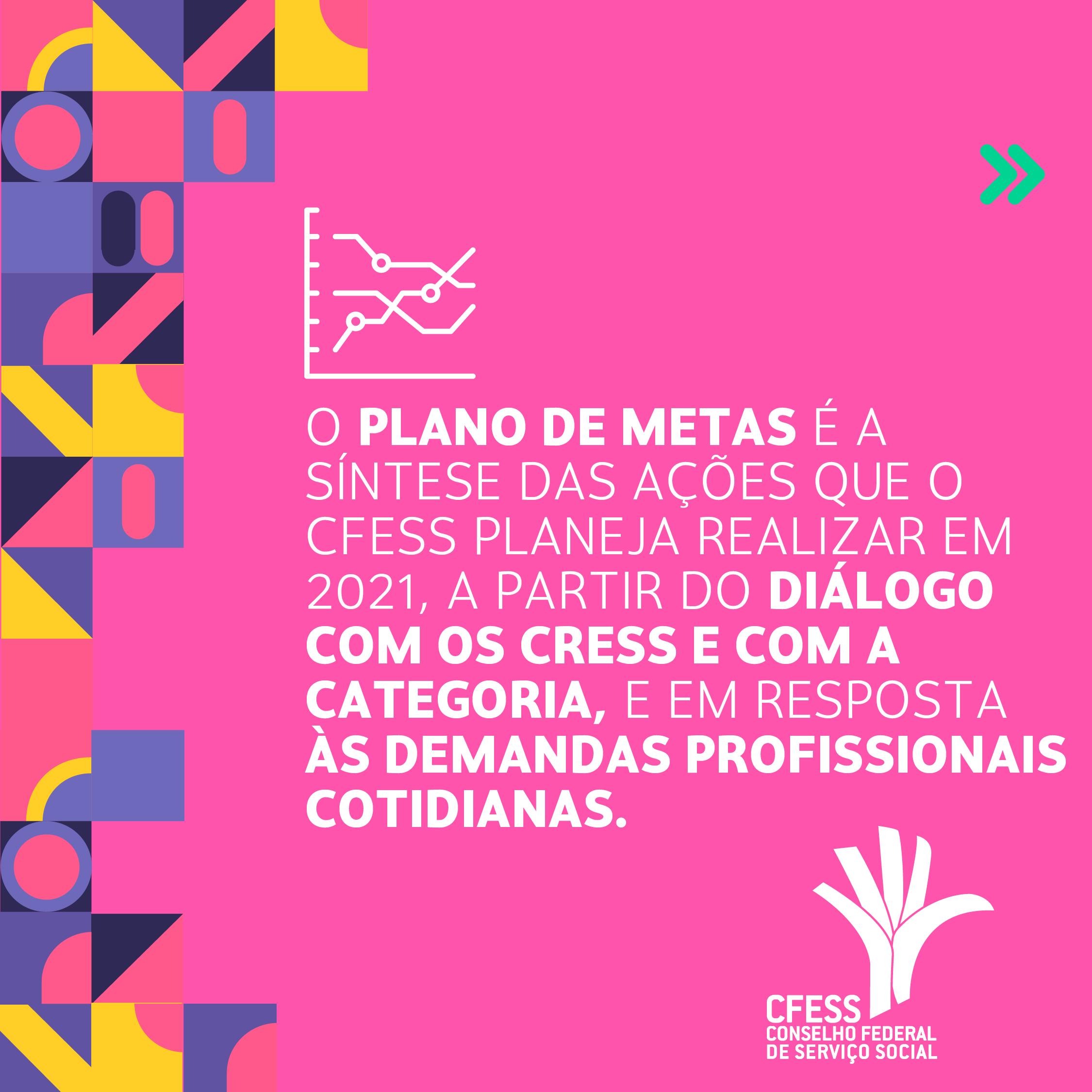 Card rosa com imagens geométricas coloridas, um texto ao centro reforçando o caráter coletivo do Plano de Metas