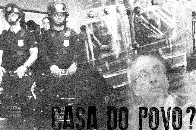 Arte mostra fotomontagem com barreira policial dentro da Câmara e imagem de Eduardo Cunha à frente, e a pergunta: Casa do Povo?