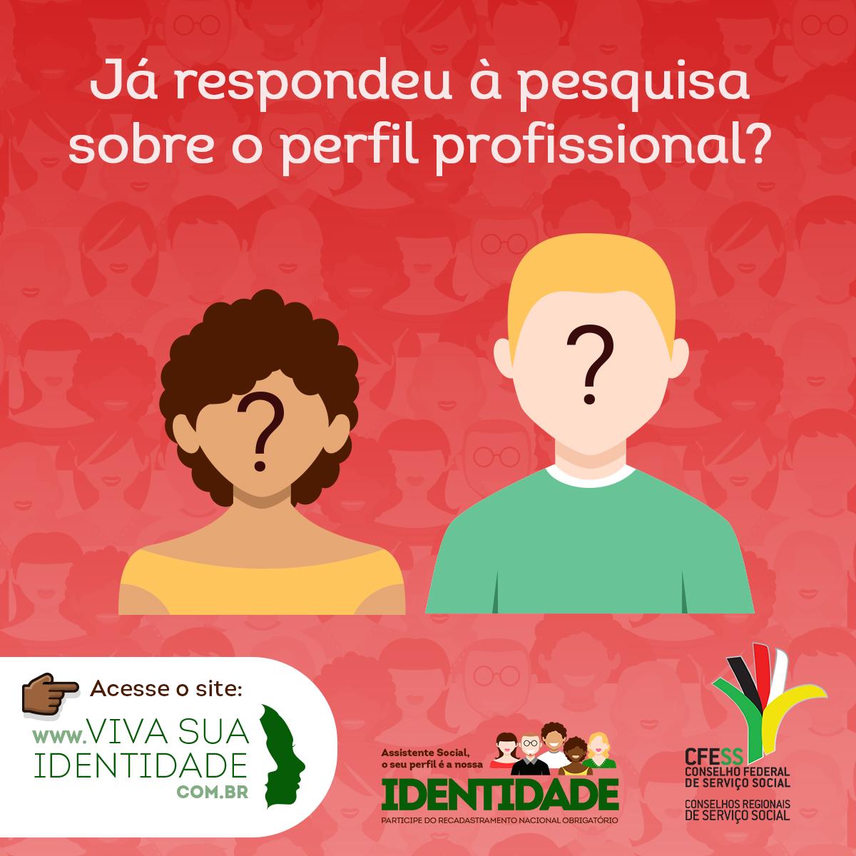 Card com imagens de duas pessoas e a pergunta: Já respondeu à pesquisa sobre o perfil profissional?