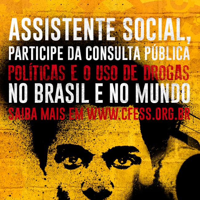 Imagem mostra texto com a chamada para assistentes sociais participarem da consulta. É composta por um fundo amarelo e uma ilustração de pessoa negra olhando você