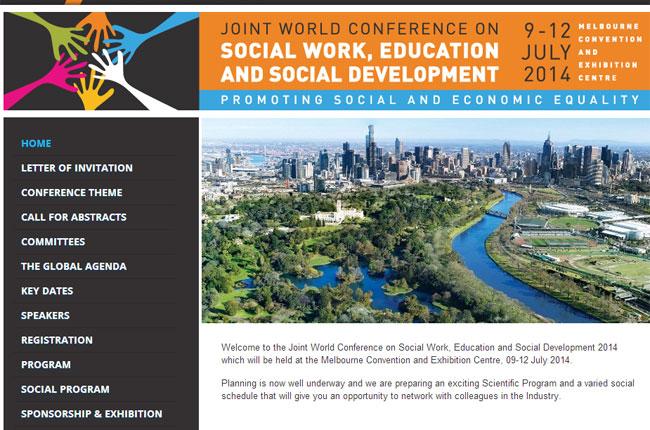 Imagem do site do evento, com foto da cidade de Melbourne, na Austrália