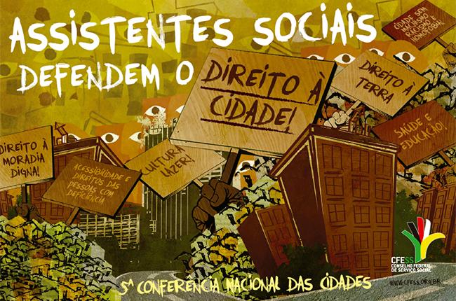 Imagem do adesivo, que traz uma ilustração de uma cidade com prédios, favelas e pessoas reinvidicando