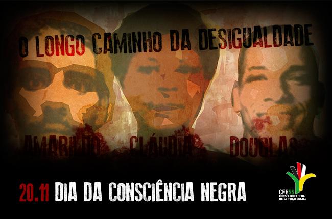 Imagem mostra ilustração dos rostos de Amarildo, Cláudia e Douglas, exterminados pelo Estado brasileiro, assim como grande parte da juventude negra e pobre do país