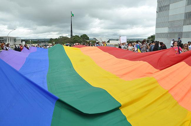 Imagem da 3ª Marcha Nacional LGBT, em Brasília, em 2012