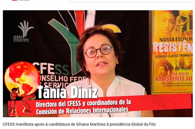 Imagem da conselheira do CFESS Tânia Diniz, no vídeo em que a entidade manifesta apoio à candidatura de Silvana Martínez