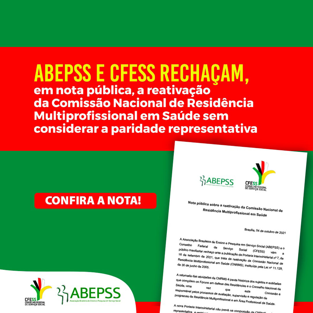 Card com fundo verde e faixa laranja ao centro com título da nota do CFESS e Abepss. Abaixo, uma imagem da nota, com as logos das entidades.