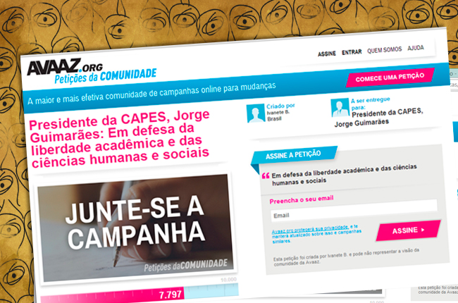 Imagem mostra petição encaminhada à Capes