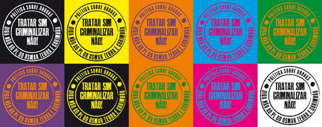 Imagem dos adesivos que serão distribuídos durante a marcha e nas ações dentro do Congresso Nacional