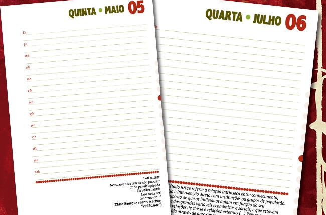 Imagem mostra modelo de página interna da agenda, com espaço para anotações de compromissos, além de textos e poesias já presentes
