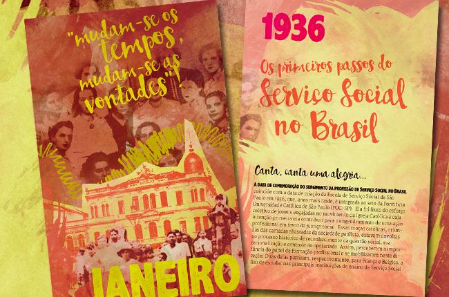 Imagem da divisória interna de janeiro, recuperando fotografias antigas de assistentes sociais da década de 30.