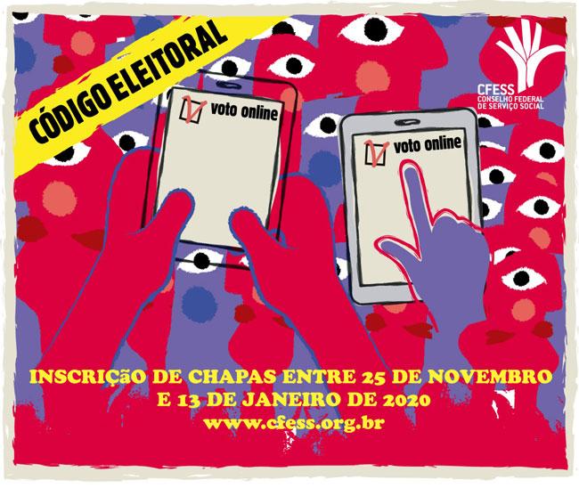 Imagem ilustrativa com vários olhos e ilustrações de pessoas, com mãos segurando dois tablets e simulando o voto on-line, como ocorrerá nas próximas eleições do Conjunto CFESS-CRESS.