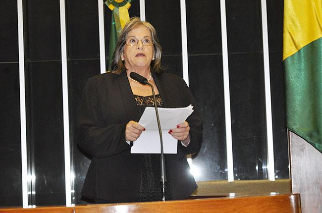 Imagem da professora Marilda Iamamoto na tribuna da Câmara dos Deputados