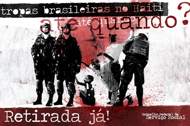 Imagem mostra ilustração de soldados brasileiros subjugando a população haitiana