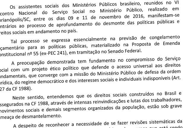 Imagem da moção divulgada por assistentes sociais do Ministério Público
