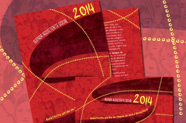 Imagem com a ilustração de capa da agenda 2014, em tom vermelho, que mostra trabalhadores e trabalhadoras