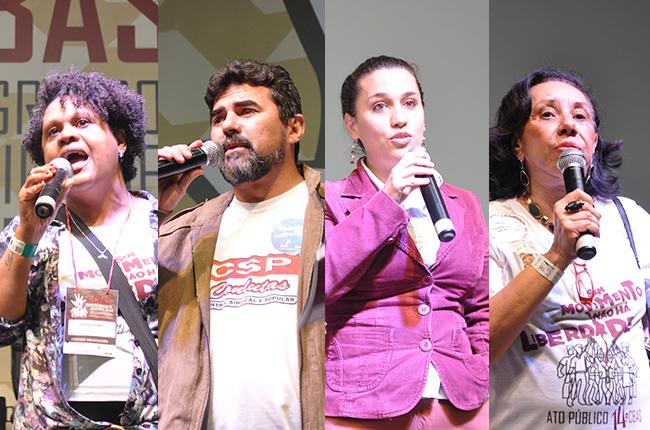 Montagem de imagem com fotos de Eloísa (CRESS-SP), Atnágoras (CSP-Conlutas), San Romanelli (Comissão da Verdade) e Inês Bravo (Frente)