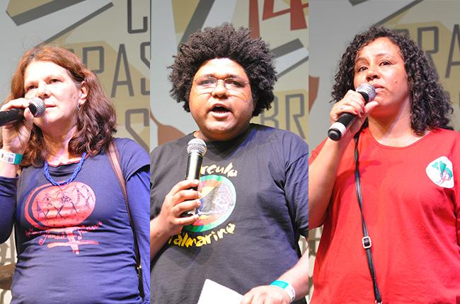 Montagem com as fotos de Sônia (Marcha das Mulheres), Junior (Movimento Negro) e Simone (MST)
