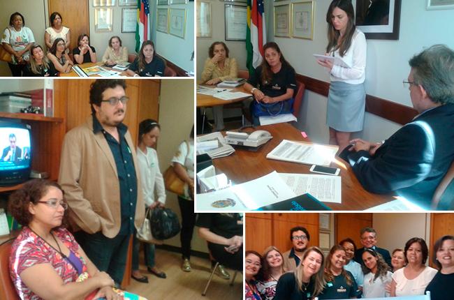 Montagem de fotos mostra assistentes sociais reunidas com o relator do PL Piso Salarial